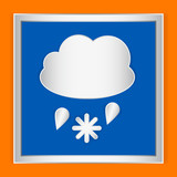 Weather icon cloudy rain and snow