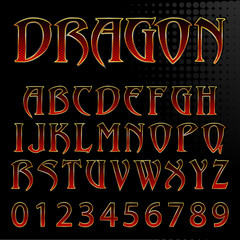 Abstract vector dragon style font