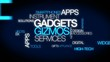 Gadgets gizmos services widgets apps word tag cloud animation
