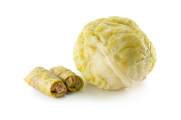 Sour cabbage head with cabbage rolls