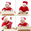 Cute girl as Santa Claus uncrating something