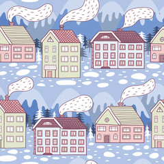 Winter city seamless pattern