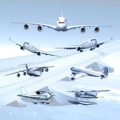 verschiedene Passagierflugzeuge