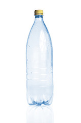 Blue empty plastic bottle and reflection on white background