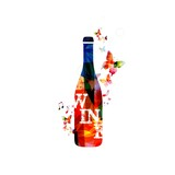Colorful vector wine bottle background with butterflies