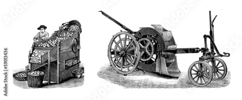 Potato Industry : 2 Agricultural Machines - 19th century