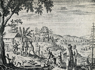Punishment of peasants in Livonia (Adam Olearus, 1647)