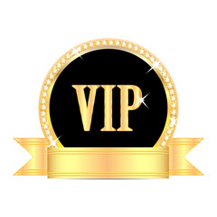 medal with the word vip and golden ribbon isolated on white back