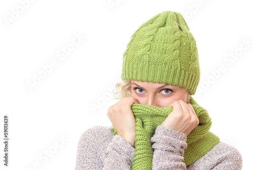 Woman covered her mouth and nose or face with scarf