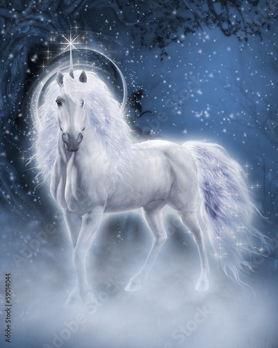 White Unicorn 3d computer graphics