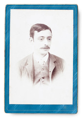 Old Portrait of a man. Made in a studio. Vintage. Year 1890