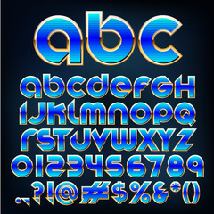 Abstract vector illustration of a blue metallic font