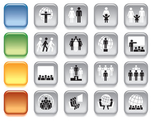 People, colorful icons