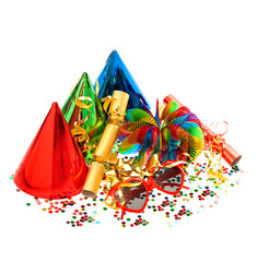 decorations, garlands, streamer, cracker, party glasses and conf