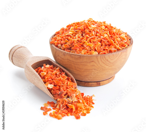 dried carrots isolated on white