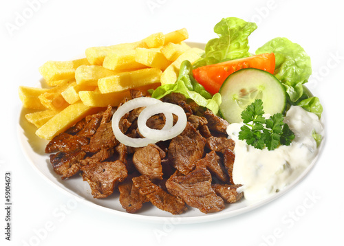 Grilled lean beef nuggets, called Dönerteller or Doner