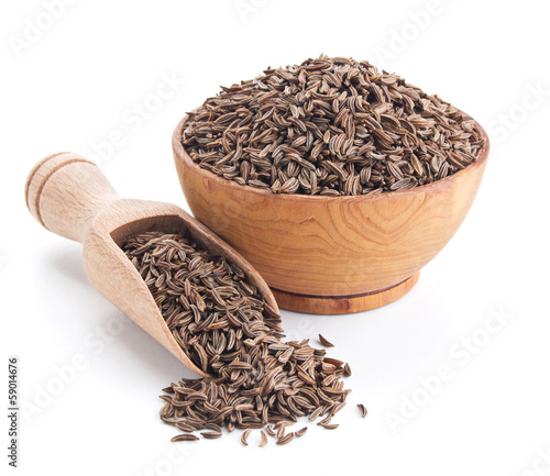 caraway seeds isolated on white