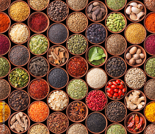 Deurstickers Kruiden Seamless texture with spices and herbs