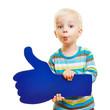 Leinwanddruck Bild - Kind gratuliert mit Daumen hoch und Kussmund