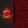 Red background with a royal emblem