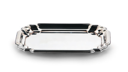 empty silver tray isolated on white