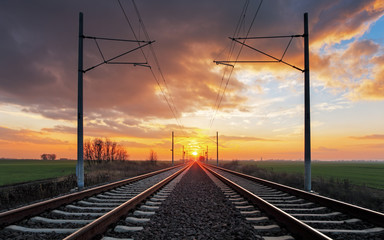 Railrway at sunset