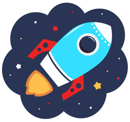 Cute cartoon colorful Rocket in space