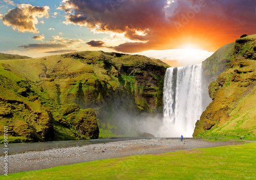 Staande foto Scandinavië Iceland, waterfall - Skogafoss