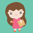 Cartoon cute girl smiling, Vector illustration