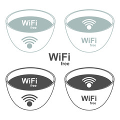 Wi-Fi zone signs to the store and bar. Vector illustration.