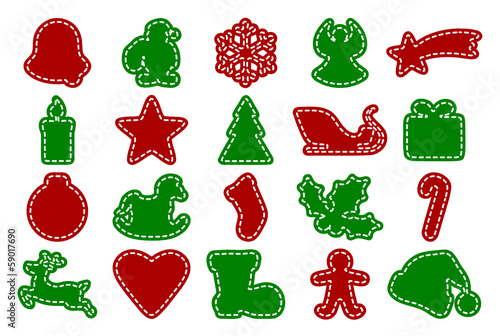 Set of Christmas Symbols in Red and Green