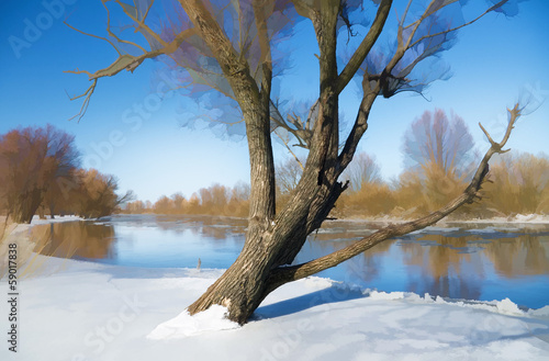 Winter river landscape