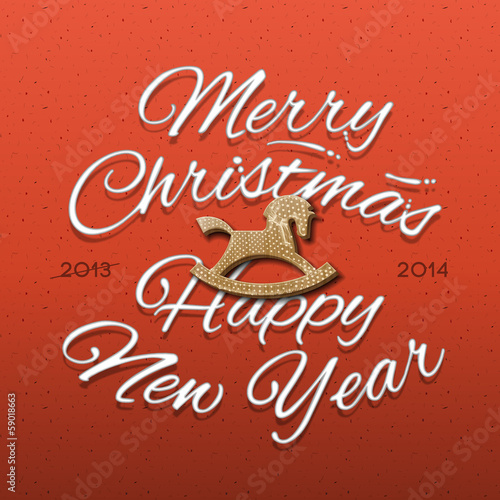 Happy New Year 2014 Greeting Card, vector Eps10 illustration.