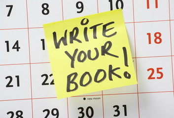Write Your Book reminder on a wall calendar