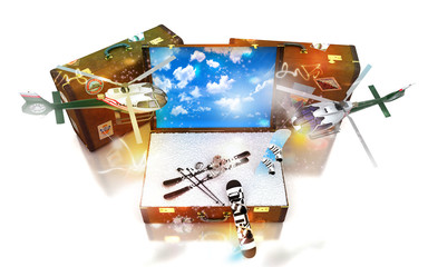 Viaggiare, valigie, agenzia viaggi, vacanze invernali