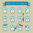 Vector icons set of human teeth funny characters