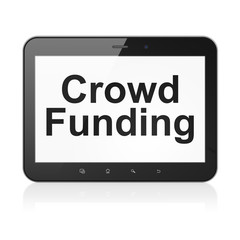 Business concept: Crowd Funding on tablet pc computer