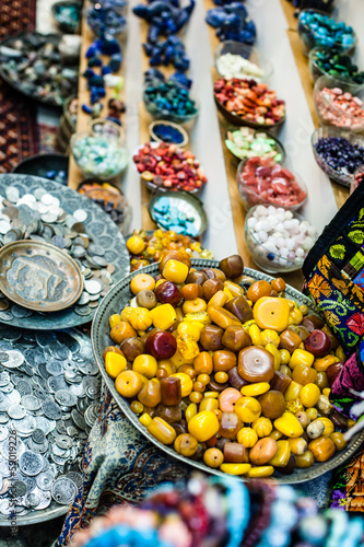 Colorful gemstones on sale at a flea market in Jerusalem,Israel
