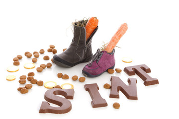 Shoes with carrots for Sinterklaas, a typical Dutch event