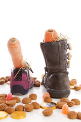 Shoes with carrots and ginger nuts for Sinterklaas, a typical Du