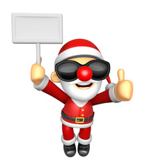 Wear sunglasses 3D Santa Mascot the right hand best gesture and