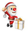 3D Santa Mascot the left hand best gesture and right hand is hol