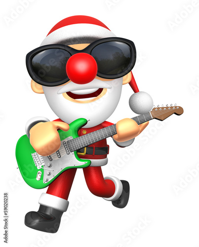 3D Santa has to be playing the Green electric guitar. 3D Christm