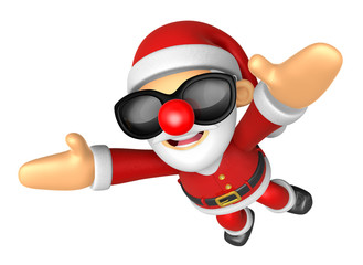 3D Santa Mascot flying to the sky. 3D Christmas Character Design