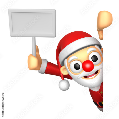 3D Santa mascot hand is holding a picket and board. 3D Christmas