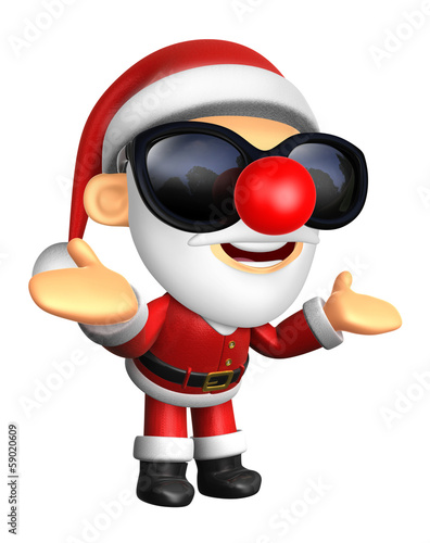 Wear sunglasses 3D Santa mascot has been welcomed with both hand