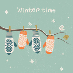 Card design with Christmas mittens. Vector