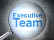 Business concept: Executive Team with optical glass