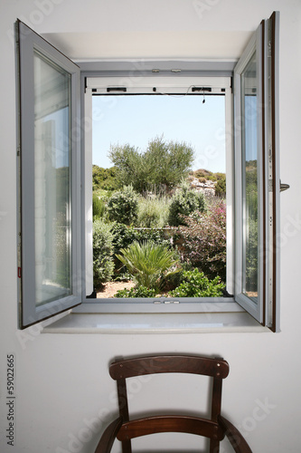 Open window to view of garden