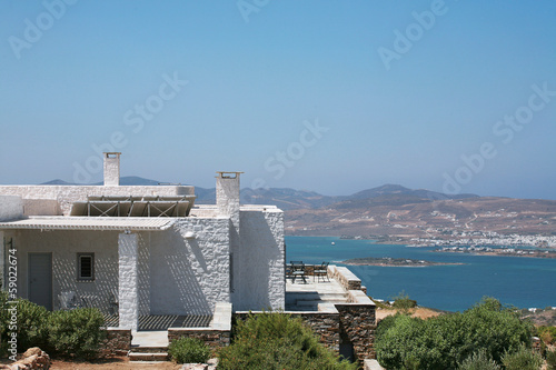 Exterior of seaside Cycladic style white house in Paros Greece